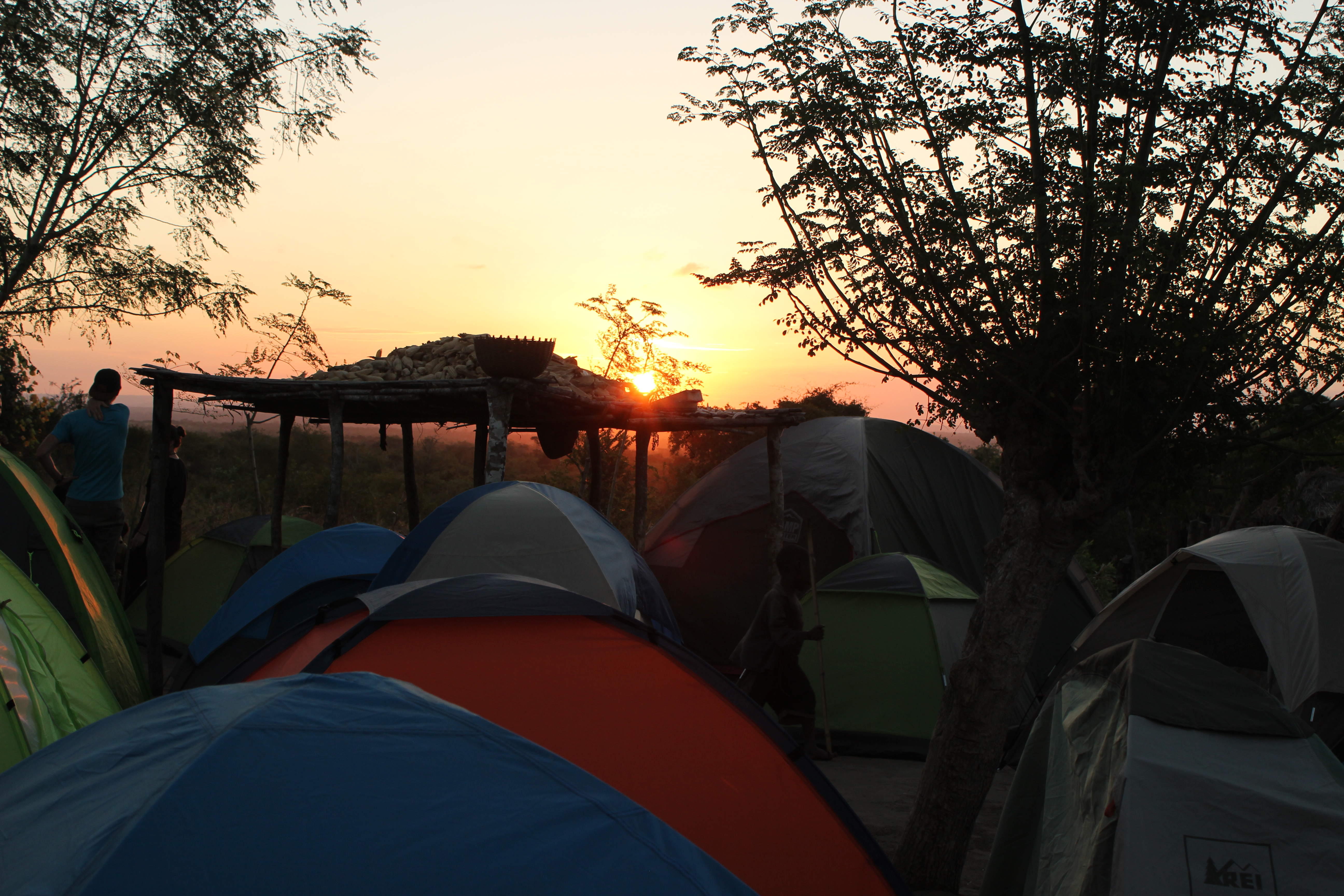 Sunset in African bush from our campsite