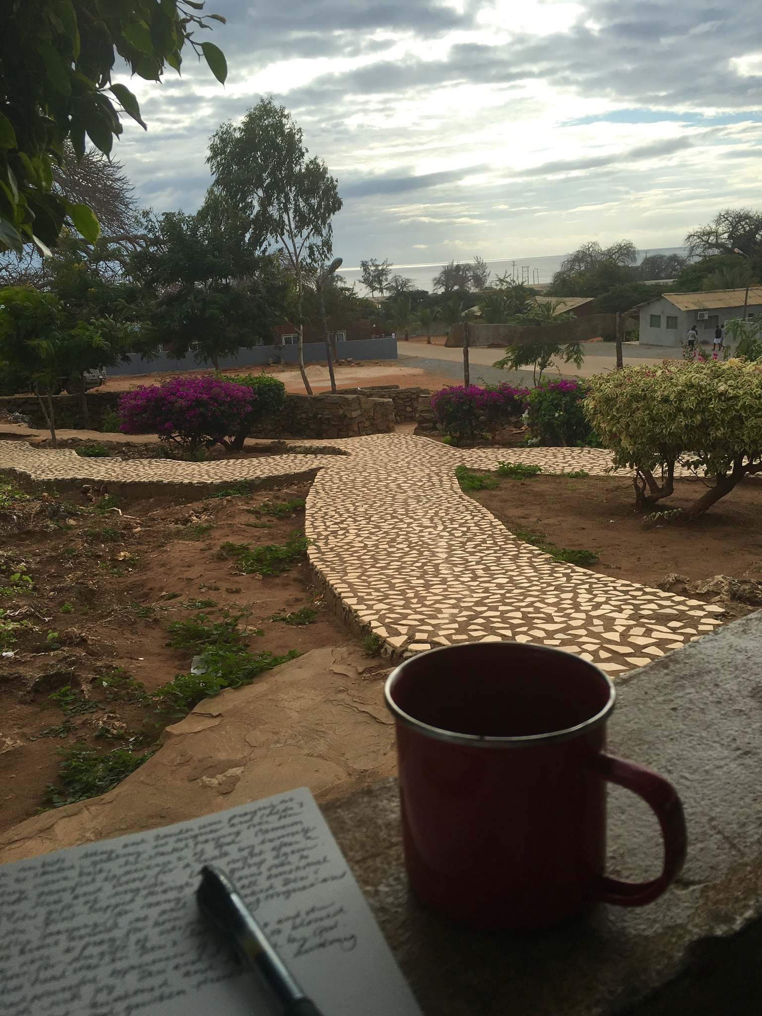 Morning coffee and quiet time looking out from prayer garden toward the Indian Ocean